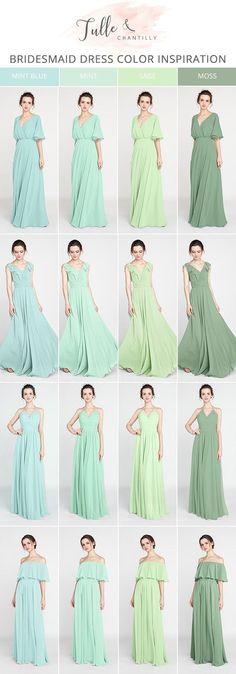 shades of green bridesmaid dresses 2018
