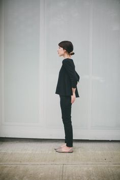 This look: oversized top, skinny pants & d'orsay flat shoes. For work or play depending on the garment colours & fabrics.