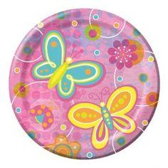 Platos Pasteleros Mariposas y Flores - Artículos de Fiesta. Ideal para 10 de Mayo, Día de las Madres.