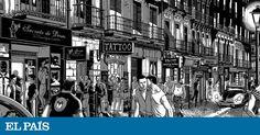 Panta Rhei expone los originales de  Chueca , obra de Miguel Navia que retrata en ilustraciones este pedazo de la capital Tinta China, Times Square, Street View, Illustration, Travel, Inspiration, Drawings, Big Books, Countries