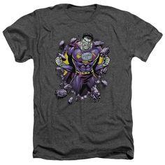 Superman/Bizzaro Breakthrough Adult Heather T-Shirt in Charcoal