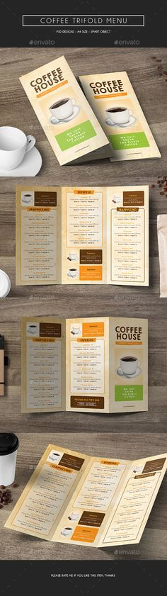 Coffee Trifold Menu — Photoshop PSD #kitchen #market • Available here → https://graphicriver.net/item/coffee-trifold-menu/14875947?ref=pxcr