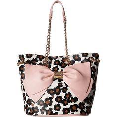 Betsey Johnson Still Hopelessly Romantic Bucket (Leopard) Handbags ($80) ❤ liked on Polyvore featuring bags, handbags, shoulder bags, animal print, bucket bags, white handbags, bucket shoulder bag, shoulder handbags and leopard handbags