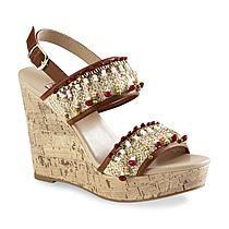 Dolce by Mojo Moxy Women's Jasmine Tan/Brown Embellished Wedge Sandal