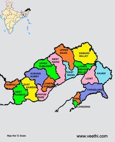 Arunachal Pradesh, India,Districts Map