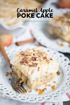 Caramel Apple Pie Poke Cake is full of sweet chunks of apples, caramel and a cinnamon caramel cream cheese frosting - it's a fall treat everyone will enjoy. via @yellowblissroad