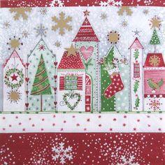 Christmas napkins, Christmas Road, Decoupage paper napkins, Set of 3 paper napkins, size 25x25cm (no.98) by ArsaiSupplies on Etsy