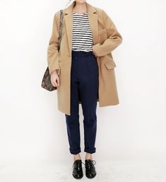 striped tee, navy bottoms, black oxfords, camel coat