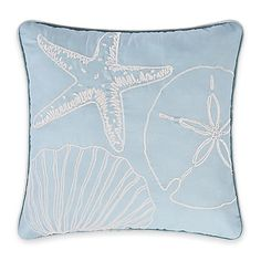 Natural Shells Square Throw Pillow in Blue/White