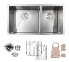 Double bowl sinks also come in a wide range of sizes and configurations, This provides versatility in the way you use your sink. Best Kitchen Sinks, Kitchen Sink Faucets, New Kitchen, Double Bowl Kitchen Sink, Farmhouse Sink Kitchen, Quartz Sink, Basin Sink, Stainless Steel Sinks, Kitchen Layout