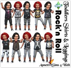 """Annett`s Sims 4 Welt: Toddlers Shirts & Pants """"Rock'n Roll"""" • Sims 4 Downloads"""