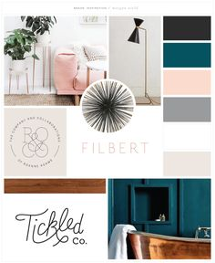 Mood board for morgannield.com logo design. Mid-century modern + minimalist branding inspiration featuring blush pink, peacock, blue, and neutral gray, taupe, white, and charcoal.