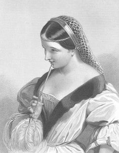 """Catherine of Valois, from Henry V. Illustration in """"The Heroines of Shakespeare: Comprising the Principal Female Characters in Plays of the Great Poet"""" by The London Printing and Publishing Co., London - Illustrated by J. W. Wright & Others, 1860"""