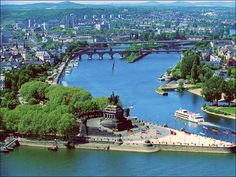 Deutsches Eck (German Corner), Koblenz, Germany. This is where the Mosel and Rhein rivers meet - see it on a River Cruise - MAGIC