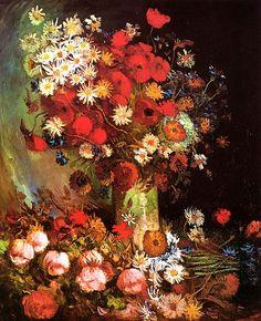 Vincent van Gogh. Vase with Poppies, Cornflowers, Peonies and Chrysanthemums, 1886