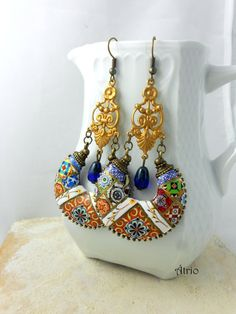 Portugal Antique Azulejo Tile Earrings  Bohemian Ethnic by Atrio