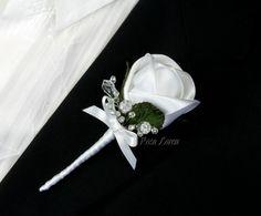 Blanca Rosa flor en el ojal blanco boda ojal por BouquetByRosaLoren