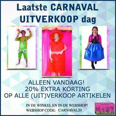 20% EXTRA KORTING! Alleen vandaag op alle Carnaval (uit)verkoop artikelen.  *  Zowel in de winkel als online! Gebruik in de webshop de code: CARNAVAL20 Meteen naar de webshop: http://bit.ly/2nWPonF  *  We zijn er vandaag tot 17.00 uur!  *  #verkleedhuis #carnaval #uitverkoop #korting #bijnavoorniets #thema #feest #20% #laatstekans