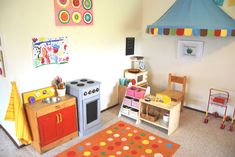 A Little Learning For Two: Play Room Tour - Play Shop, Grocery Store Kids Grocery Store, Diy Karton, Childrens Shop, Wooden Play Kitchen, Home Panel, Family Day Care, Daycare Rooms, Kindergarten, Parents Room