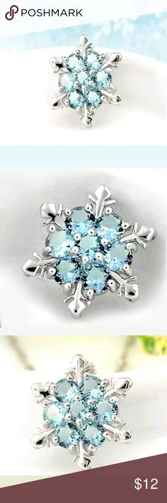 Silver with Blue Crystal Snowflake Charm Classy Silver with Blue Crystal Snowflake Charm. Reasonable Offers Considered! Jewelry Necklaces