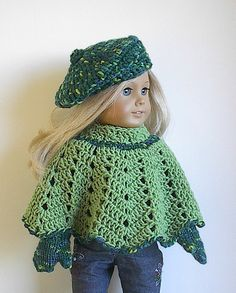 American Girl Doll Clothes - Crocheted Poncho, Beret and Mitten Set in Green and Green Confetti Wool for 18 Inch Dolls