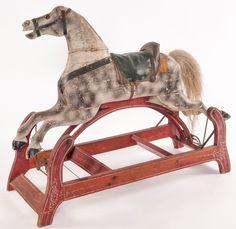 Rocking Horse; Glider, Carved, Dapple Gray, Saddle, Hair Tail.