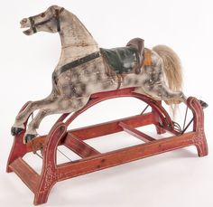 Rocking Horse; Glider, Carved, Dapple Gray, Saddle, Hair Tail.