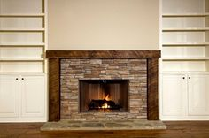 Stone Fireplace With Fire And Bookshelves Royalty Free Images Photos Stock Photography