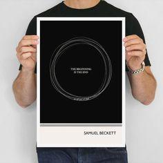 NEW: Literary Art Print, Samuel Beckett - Circle Illustration Quotes Art Poster, Large Wall Art Writer Gift