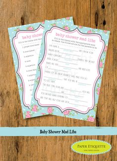 INSTANT UPLOAD Baby Shower Game Mad Libs  by PaperEtiquette, $6.50
