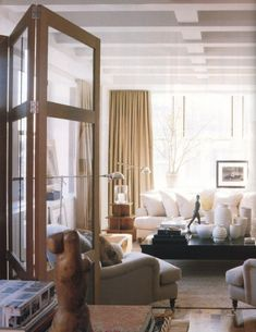 folding glass doors to divide space/ BACHELOR PADS- Part 2 | Mark D. Sikes: Chic People, Glamorous Places, Stylish Things
