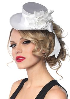 White Satin Top Hat with Flower And Bow #steampunk #steam punk