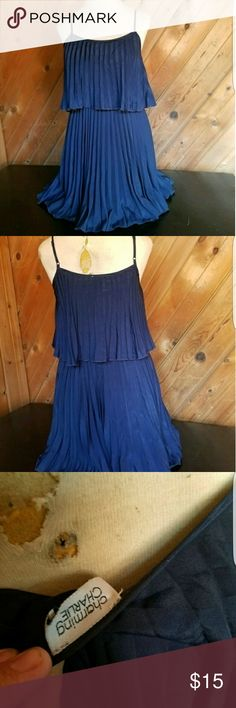Charming Charlie Blue dress Super cute with or without a sweater.  It's so versatile since it's solid blue.  Pair with some cute sandels for work or some pumps for a social affair.  Great for #datenight #dressuopordown   No size tag but fits a small/medium.  I'm a 36c and a 29 waist and it could go a little bigger it fits me perfectly. It is lined but no built in bra Charming Charlie Dresses Midi