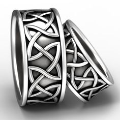 Celtic Wedding Ring Set with Raised Relief Endless Dara Knotwork Design in Sterling Silver, Wedding Ring Made in Your Size CR-35