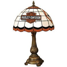Harley Davidson Stained Glass Tiffany Style Table Lamp