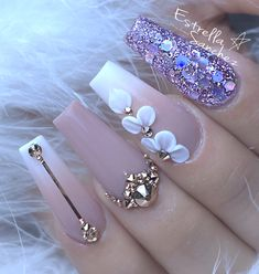 Glam Nails, Dope Nails, Bling Nails, Polygel Nails, Acrylic Nails Coffin Pink, Coffin Shape Nails, Stylish Nails, Trendy Nails, Bridal Nails Designs