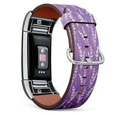 Replacement Leather Strap Printing Wristbands Compatible with Fitbit Charge 2 - Lavender Flowers Pattern on Purple Ba... Fitbit Charge, Fitbit Flex, Purple Backgrounds, Lavender Flowers, Flower Patterns, Printing, Leather, Stuff To Buy, Accessories