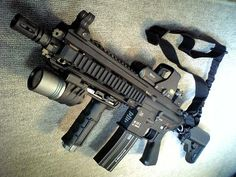 HK 416. This thing weighs a ton. Manhandled one at the shop today.