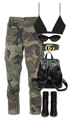 """Untitled #375"" by m0dernlove ❤ liked on Polyvore featuring RE/DONE, Yves Saint Laurent, Gucci and Gianvito Rossi"