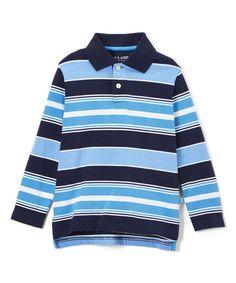 Blue & Navy Stripe Long-Sleeve Polo - Boys
