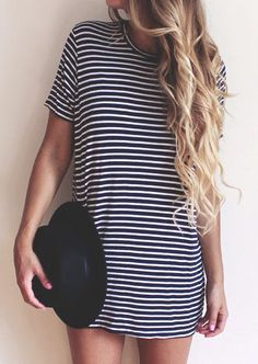 striped t-shirt dres