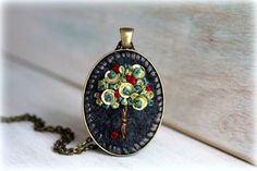 Embroidered Jewelry. Embroidered Necklace. Felt door sewhappygirls