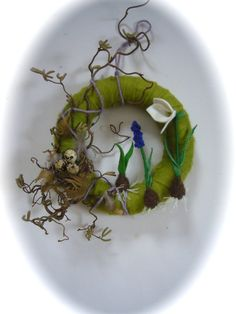 Spring snowdrop muscari Wreath Needle Felted by FilzArts on Etsy, $49.00