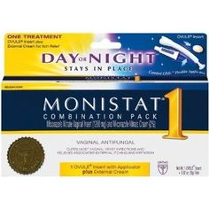Monistat 1 Vaginal Antifungal Day or Night 1-Day Treatment Combination Pack --- http://www.amazon.com/Monistat-Vaginal-Antifungal-Treatment-Combination/dp/B0009Q633I/?tag=mlpoller-20