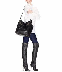 "Jimmy Choo ""Giselle"" black leather OTK boots - STUNNING!"