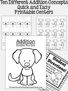 Ten Addition Quick and Easy Puppy Themed Printable Centers 10 Different Addition Concepts Terrific for Seatwork, Homework or Sub Tub #TPT $Paid