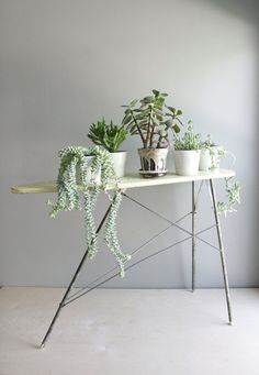 Vintage toy ironing board as plant stand, via remodelista.but oh, look at those succulents! Indoor Garden, Indoor Plants, Hanging Plants, Vintage Ironing Boards, Diy Hanging Shelves, Pot Plante, Iron Board, Deco Floral, Cactus Y Suculentas