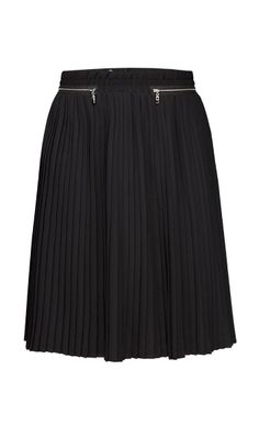 ACCORDIAN $175 214572 Poly georgette micro pleated full skirt with zipper detail.