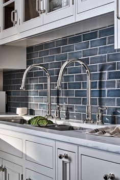 A mix of historical references, including finely etched vintage silver, come together in this twist on classical design - a wonderfully elegant formal statement. Kitchen Redo, Kitchen Backsplash, New Kitchen, Kitchen Remodel, Kitchen Design, Home Reno, Kitchen Interior, Home Kitchens, House Plans