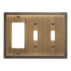Art Deco Zinc Double Toggle and Decora Switch Plate - Antique Brass